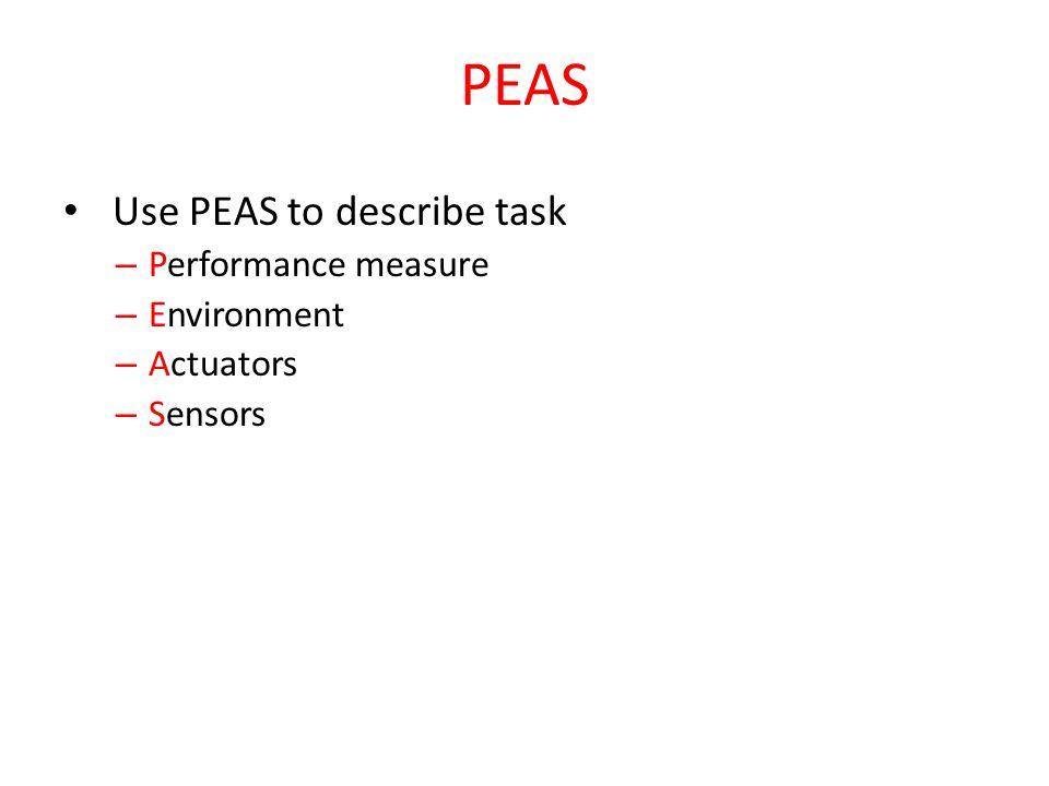PEAS Use PEAS to describe task – Performance measure – Environment – Actuators – Sensors