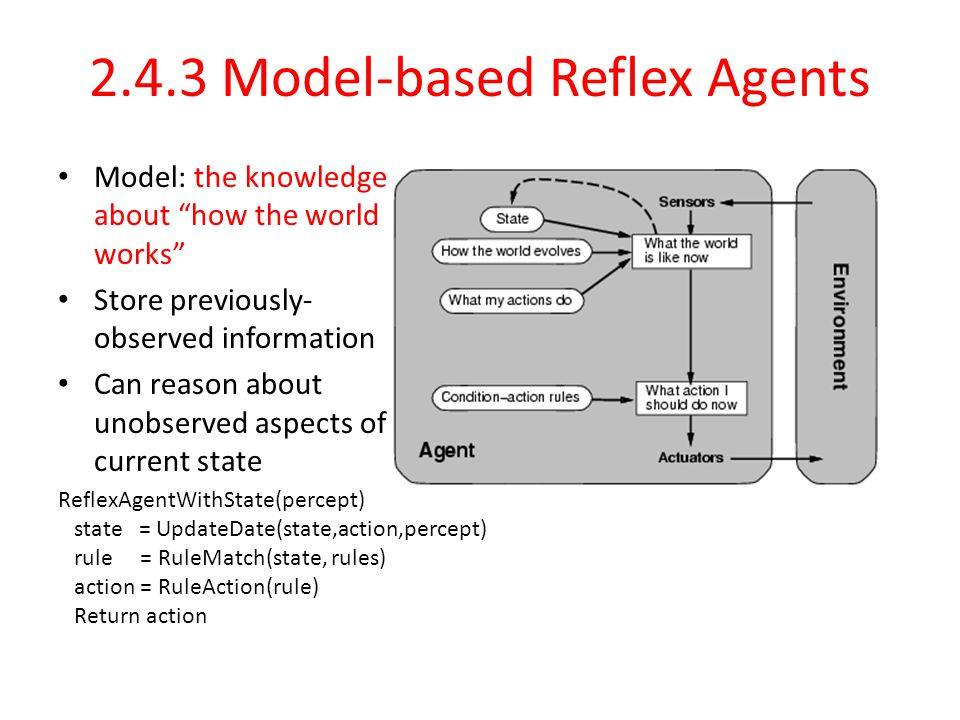 2.4.3 Model-based Reflex Agents Model: the knowledge about how the world works Store previously- observed information Can reason about unobserved aspects of current state ReflexAgentWithState(percept) state = UpdateDate(state,action,percept) rule = RuleMatch(state, rules) action = RuleAction(rule) Return action