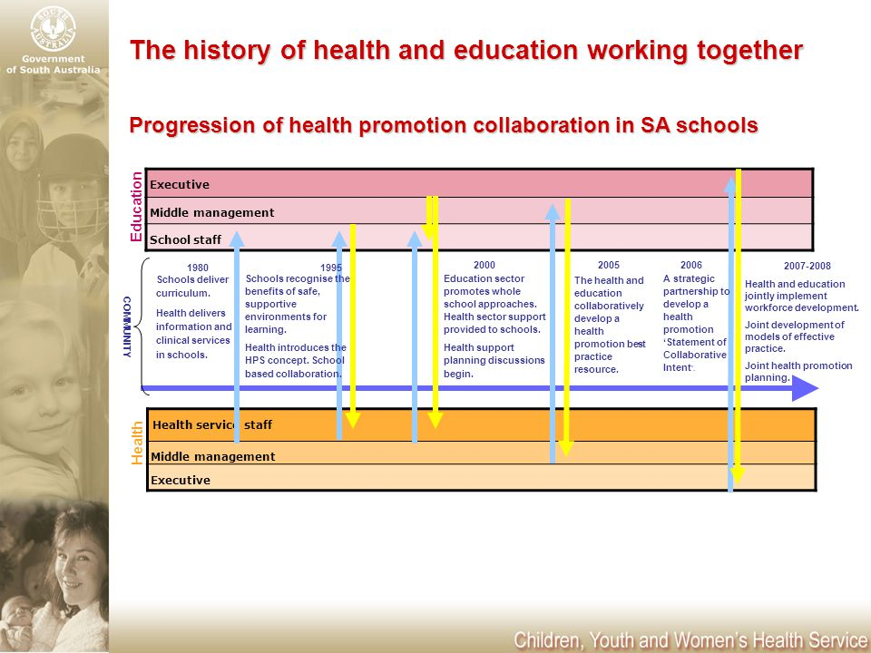 Executive Middle management School staff Health service staff Middle management Executive The history of health and education working together Schools deliver curriculum.
