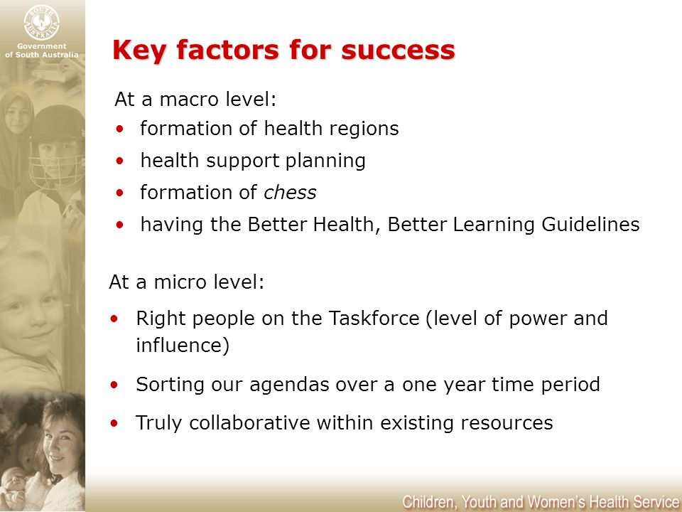 Key factors for success At a macro level: formation of health regions health support planning formation of chess having the Better Health, Better Learning Guidelines At a micro level: Right people on the Taskforce (level of power and influence) Sorting our agendas over a one year time period Truly collaborative within existing resources
