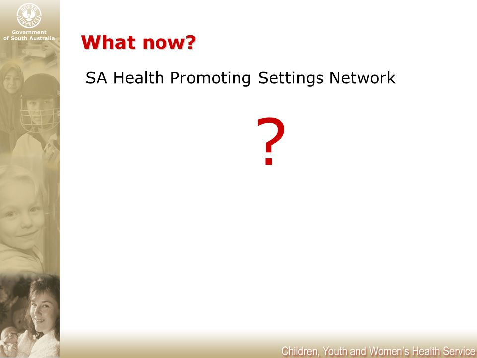 What now? What now? SA Health Promoting Settings Network ?