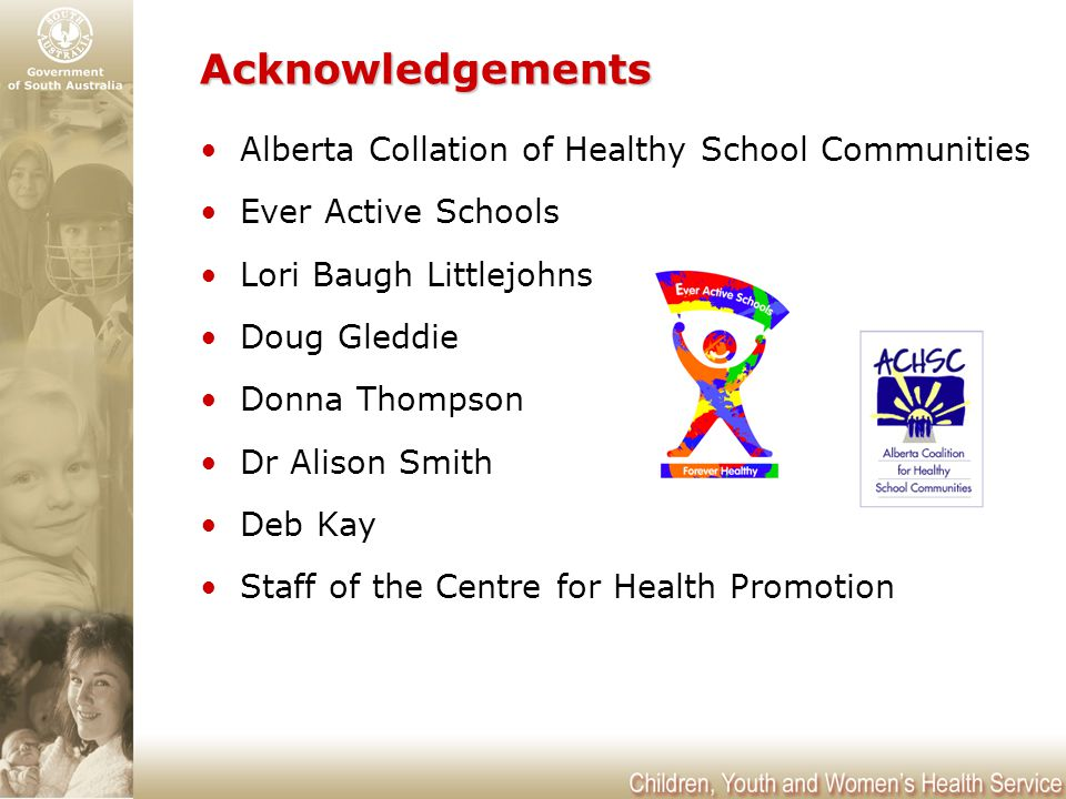 Acknowledgements Alberta Collation of Healthy School Communities Ever Active Schools Lori Baugh Littlejohns Doug Gleddie Donna Thompson Dr Alison Smith Deb Kay Staff of the Centre for Health Promotion