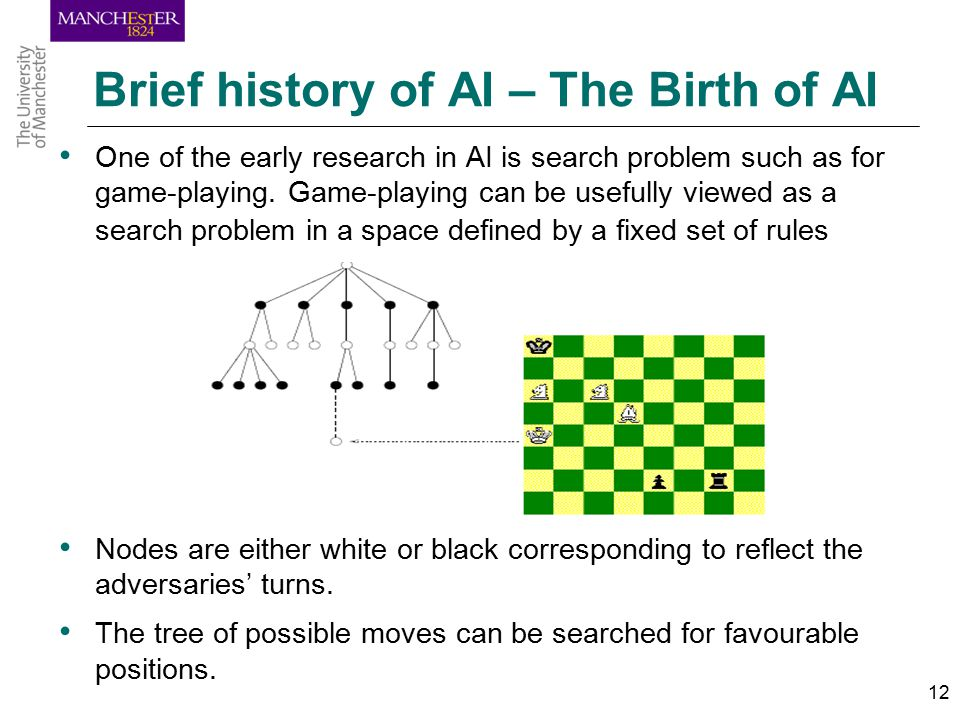 12 Brief history of AI – The Birth of AI One of the early research in AI is search problem such as for game-playing.