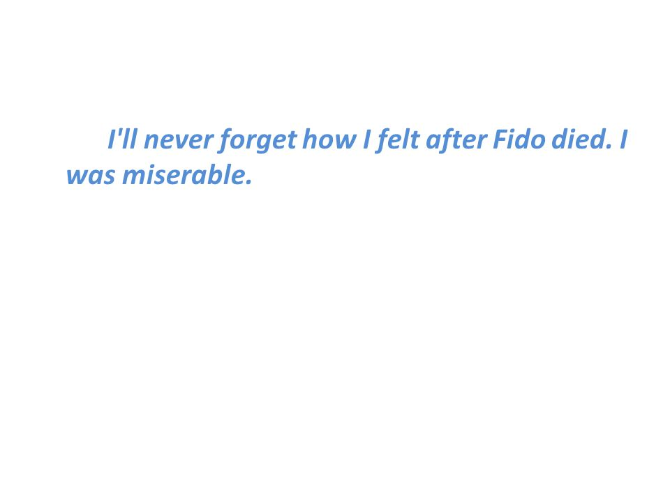 I ll never forget how I felt after Fido died. I was miserable.