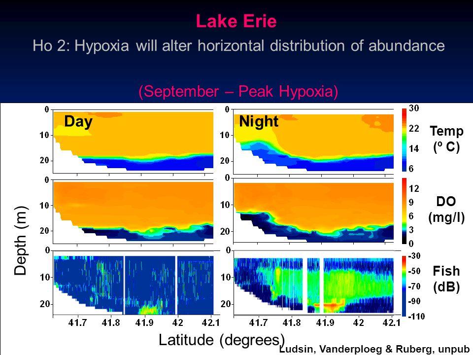 Latitude (degrees) Depth (m) Temp (º C) DO (mg/l) Fish (dB) (September – Peak Hypoxia) Ho 2: Hypoxia will alter horizontal distribution of abundance D