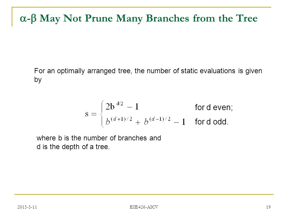 2015-5-11 EIE426-AICV 19  -  May Not Prune Many Branches from the Tree For an optimally arranged tree, the number of static evaluations is given by for d even; for d odd.