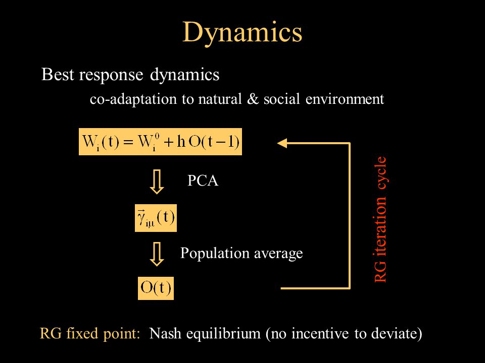 Dynamics Best response dynamics co-adaptation to natural & social environment PCA Population average RG iteration cycle RG fixed point: Nash equilibrium (no incentive to deviate)