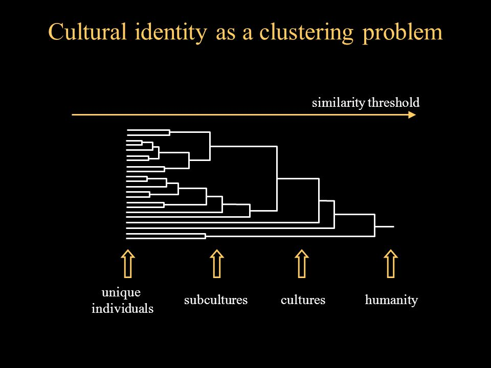 Cultural identity as a clustering problem unique individuals humanity similarity threshold culturessubcultures