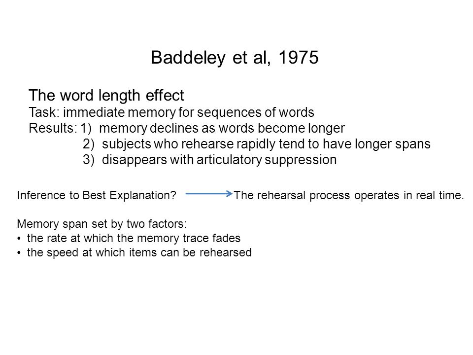 Baddeley et al, 1975 The word length effect Task: immediate memory for sequences of words Results: 1) memory declines as words become longer 2) subjec