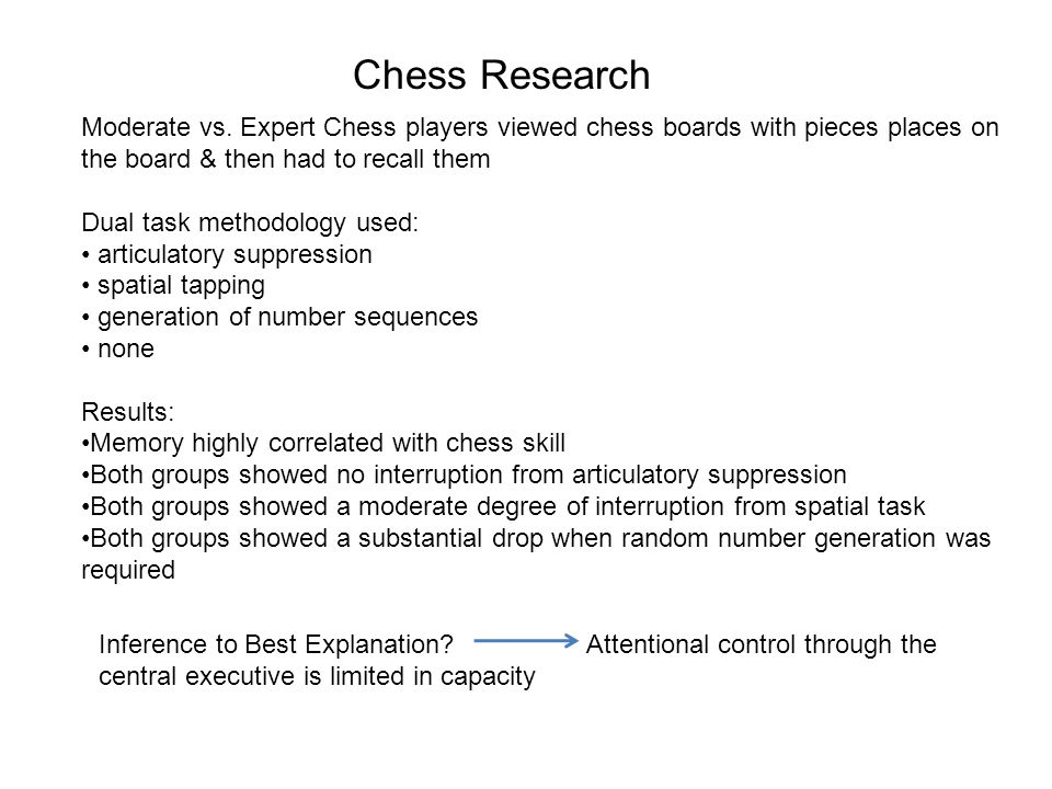 Chess Research Moderate vs. Expert Chess players viewed chess boards with pieces places on the board & then had to recall them Dual task methodology u