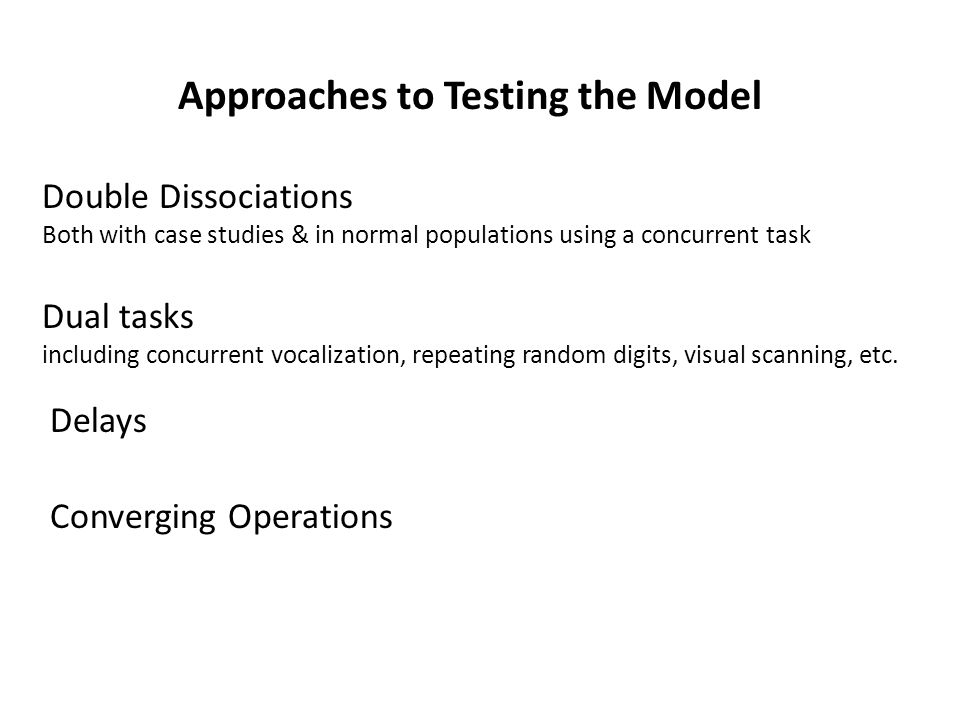 Approaches to Testing the Model Dual tasks including concurrent vocalization, repeating random digits, visual scanning, etc. Double Dissociations Both