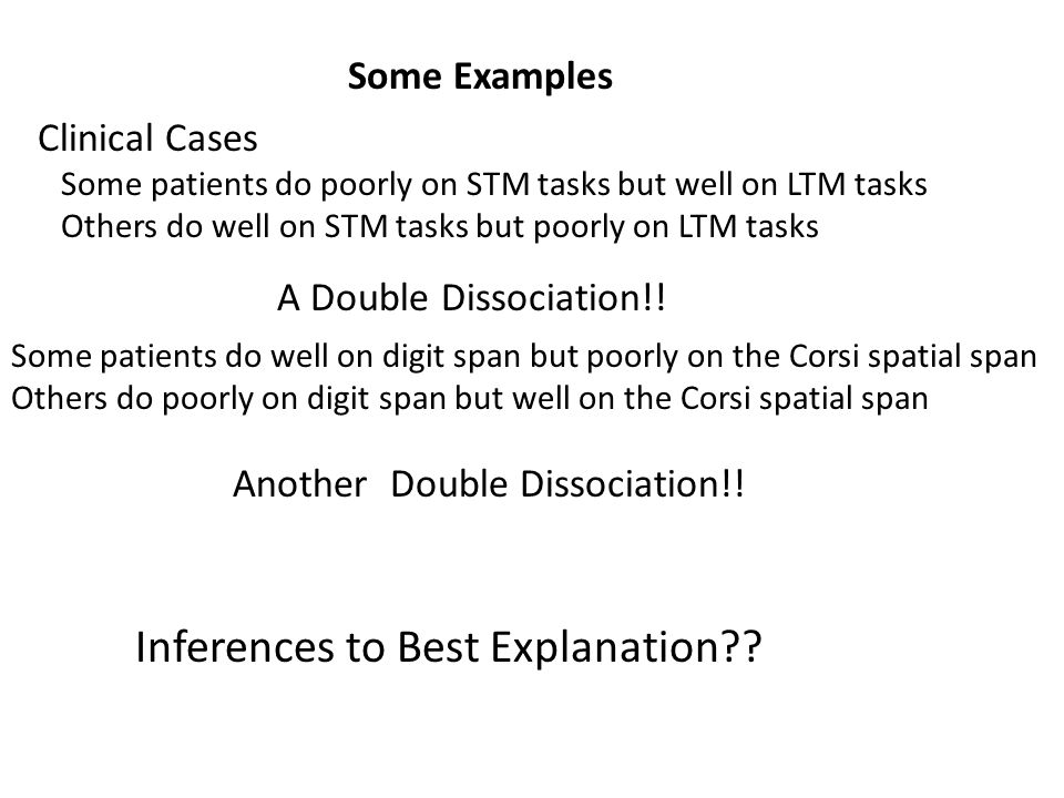 Some Examples Clinical Cases Some patients do poorly on STM tasks but well on LTM tasks Others do well on STM tasks but poorly on LTM tasks A Double D