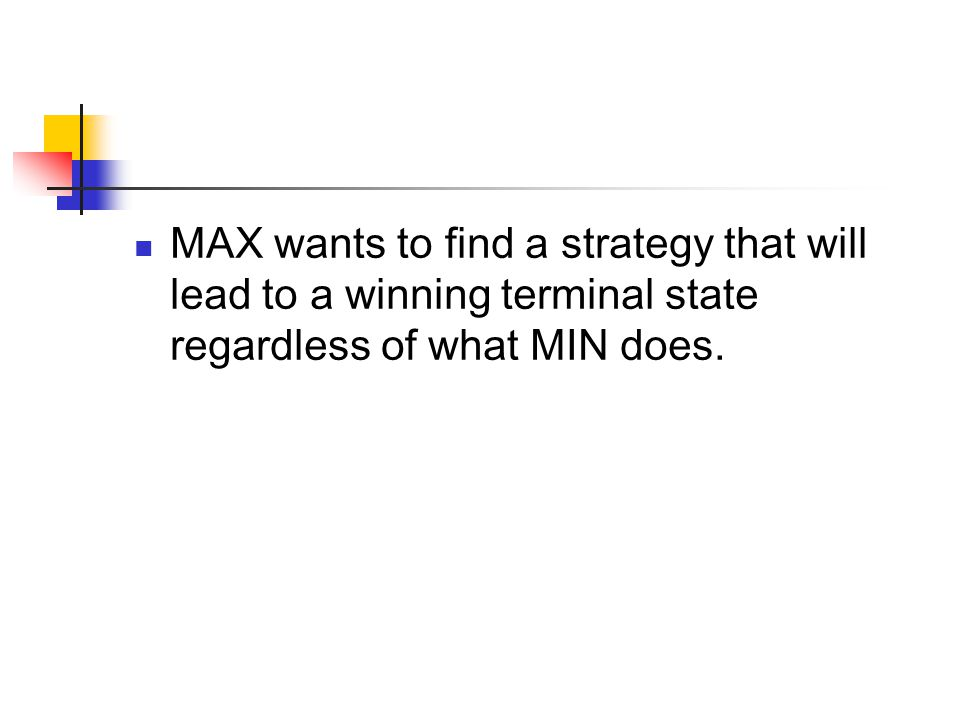 MAX wants to find a strategy that will lead to a winning terminal state regardless of what MIN does.