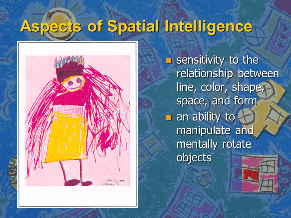 Aspects of Spatial Intelligence n sensitivity to the relationship between line, color, shape, space, and form n an ability to manipulate and mentally