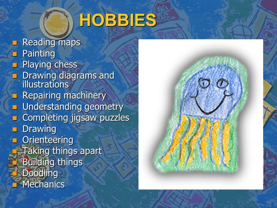 HOBBIES n Reading maps n Painting n Playing chess n Drawing diagrams and illustrations n Repairing machinery n Understanding geometry n Completing jig