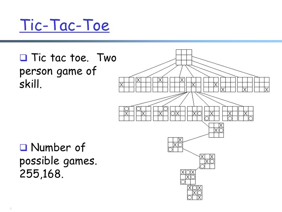 Tic-Tac-Toe  Tic tac toe. Two person game of skill.  Number of possible games. 255,168. 6
