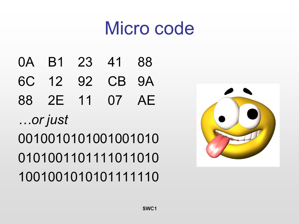 SWC1 Micro code 0AB1234188 6C1292CB9A 882E1107AE …or just 0010010101001001010 0101001101111011010 1001001010101111110