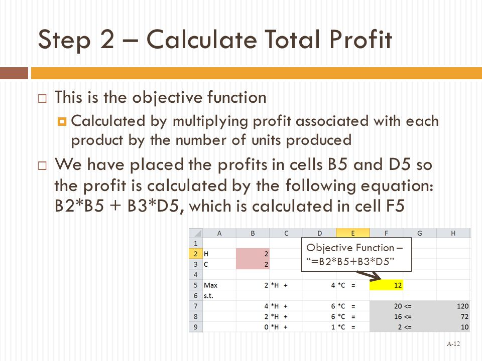A-12 Step 2 – Calculate Total Profit  This is the objective function  Calculated by multiplying profit associated with each product by the number of units produced  We have placed the profits in cells B5 and D5 so the profit is calculated by the following equation: B2*B5 + B3*D5, which is calculated in cell F5 Objective Function – =B2*B5+B3*D5