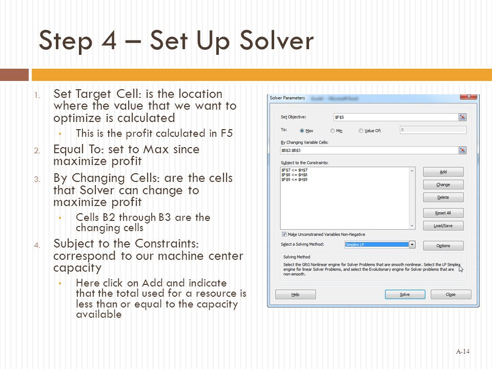 A-14 Step 4 – Set Up Solver 1.