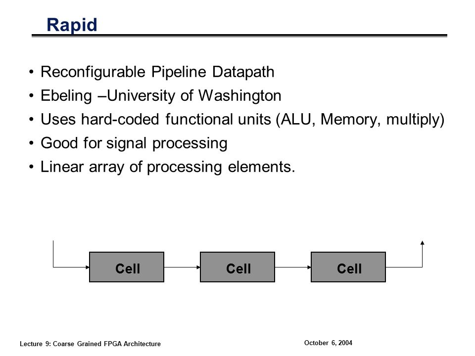 Lecture 9: Coarse Grained FPGA Architecture October 6, 2004 Rapid Reconfigurable Pipeline Datapath Ebeling –University of Washington Uses hard-coded functional units (ALU, Memory, multiply) Good for signal processing Linear array of processing elements.