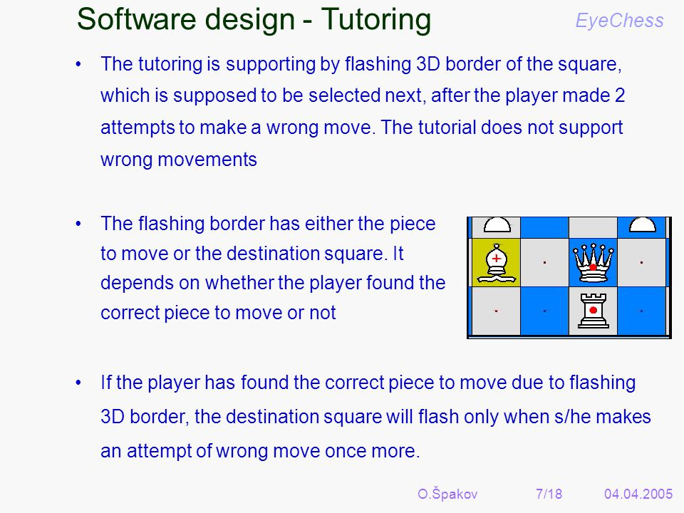 O.Špakov7/1804.04.2005 Software design - Tutoring EyeChess The tutoring is supporting by flashing 3D border of the square, which is supposed to be selected next, after the player made 2 attempts to make a wrong move.