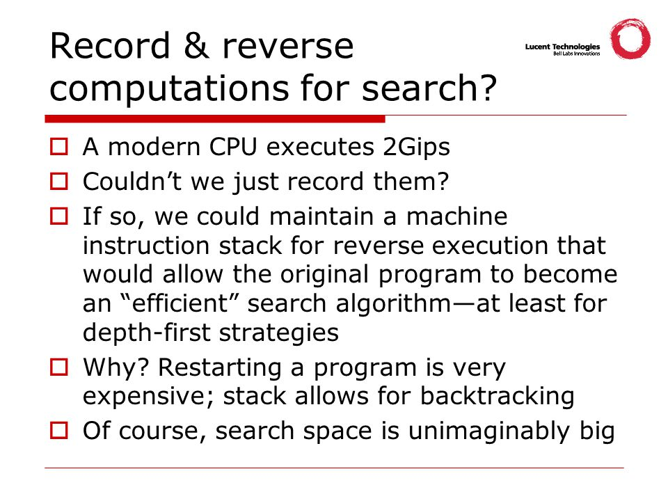 Record & reverse computations for search.
