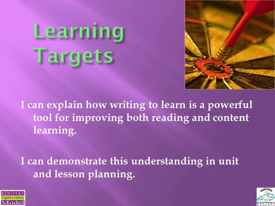 I can explain how writing to learn is a powerful tool for improving both reading and content learning.