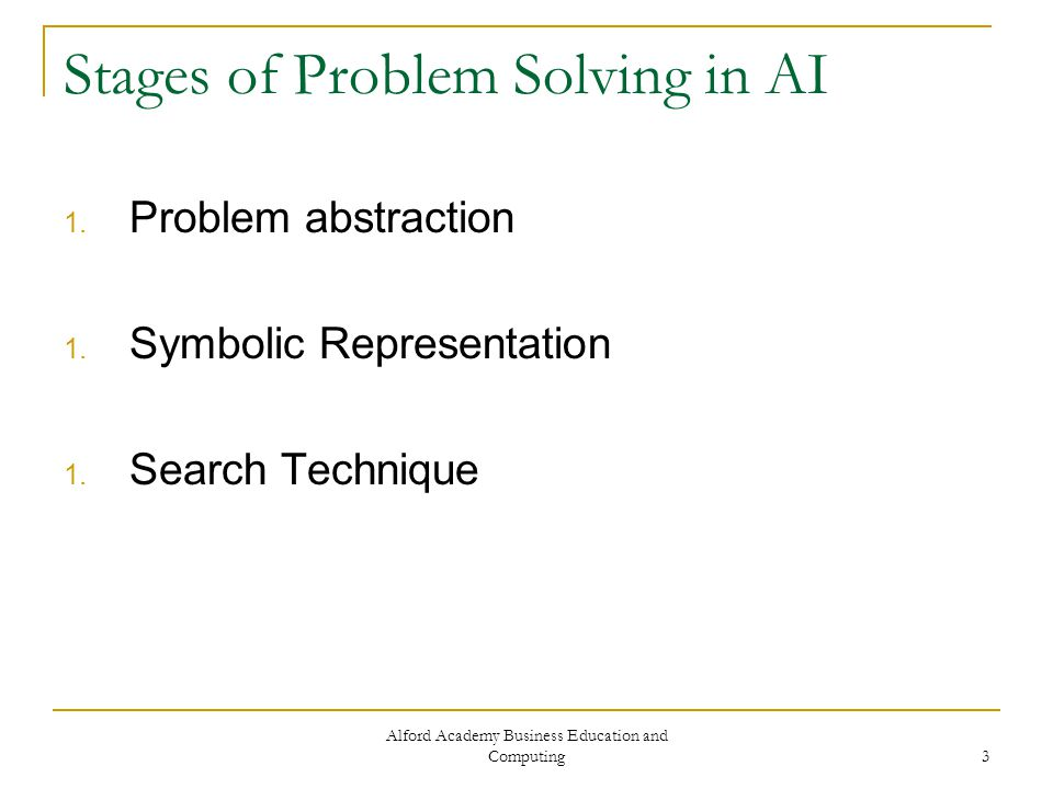 Alford Academy Business Education and Computing 4 Problem Abstraction Problem abstraction is the process of defining the problem clearly and unambiguously.