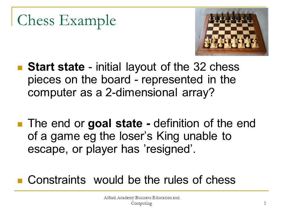 Alford Academy Business Education and Computing 5 Chess Example Start state - initial layout of the 32 chess pieces on the board - represented in the computer as a 2-dimensional array.