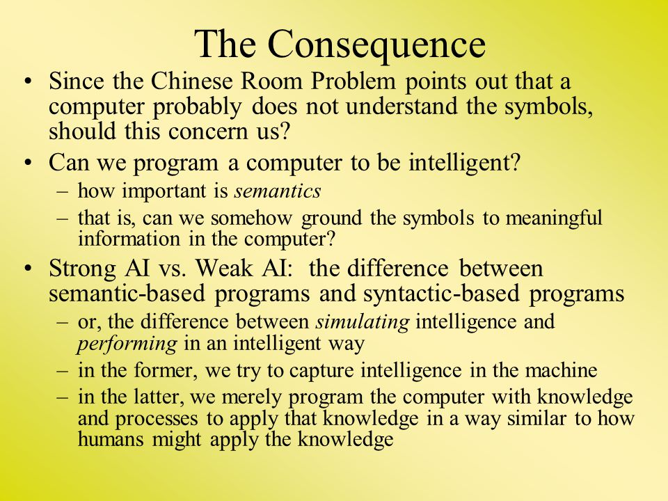 Since the Chinese Room Problem points out that a computer probably does not understand the symbols, should this concern us? Can we program a computer