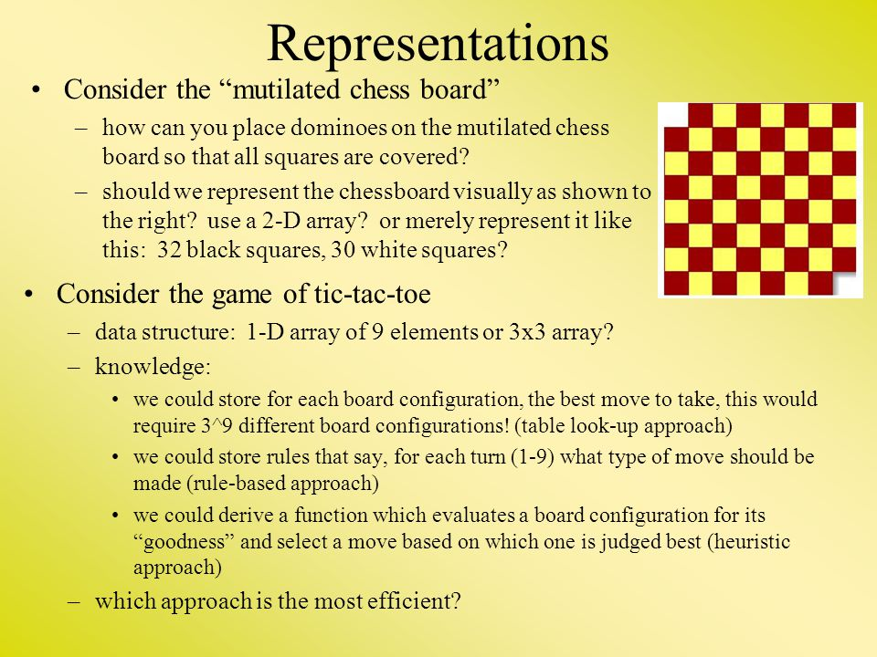 """Representations Consider the """"mutilated chess board"""" –how can you place dominoes on the mutilated chess board so that all squares are covered? –should"""