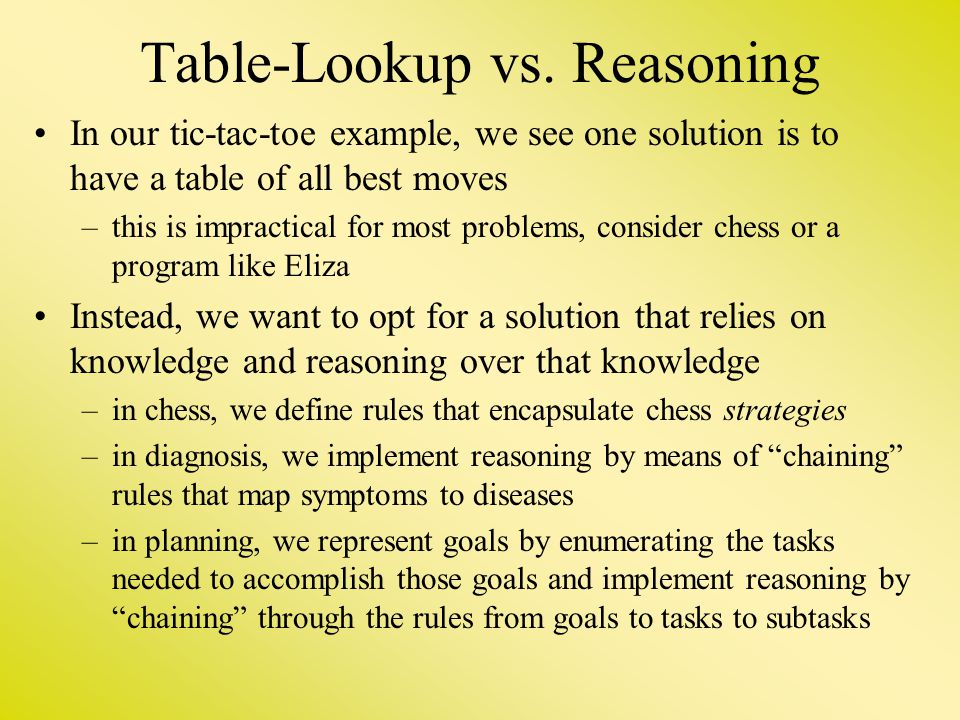 Table-Lookup vs. Reasoning In our tic-tac-toe example, we see one solution is to have a table of all best moves –this is impractical for most problems