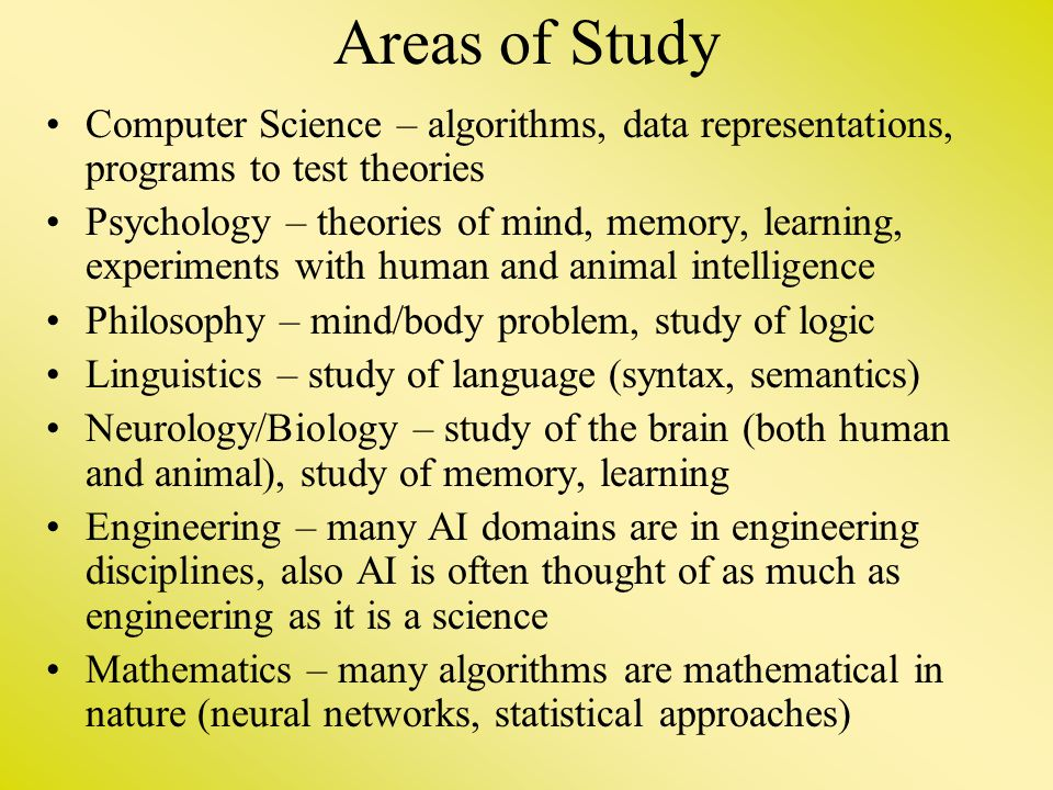 Areas of Study Computer Science – algorithms, data representations, programs to test theories Psychology – theories of mind, memory, learning, experim