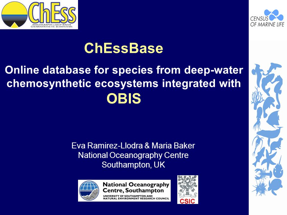 ChEssBase Online database for species from deep-water chemosynthetic ecosystems integrated with OBIS Eva Ramirez-Llodra & Maria Baker National Oceanography Centre Southampton, UK
