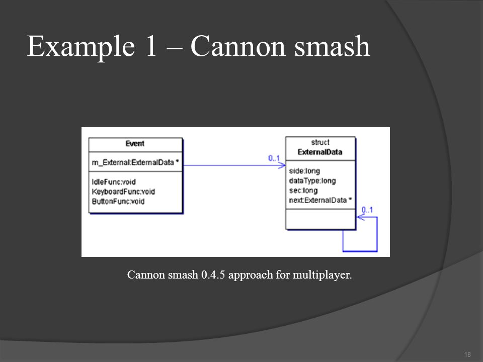 Example 1 – Cannon smash Cannon smash 0.4.5 approach for multiplayer. 18