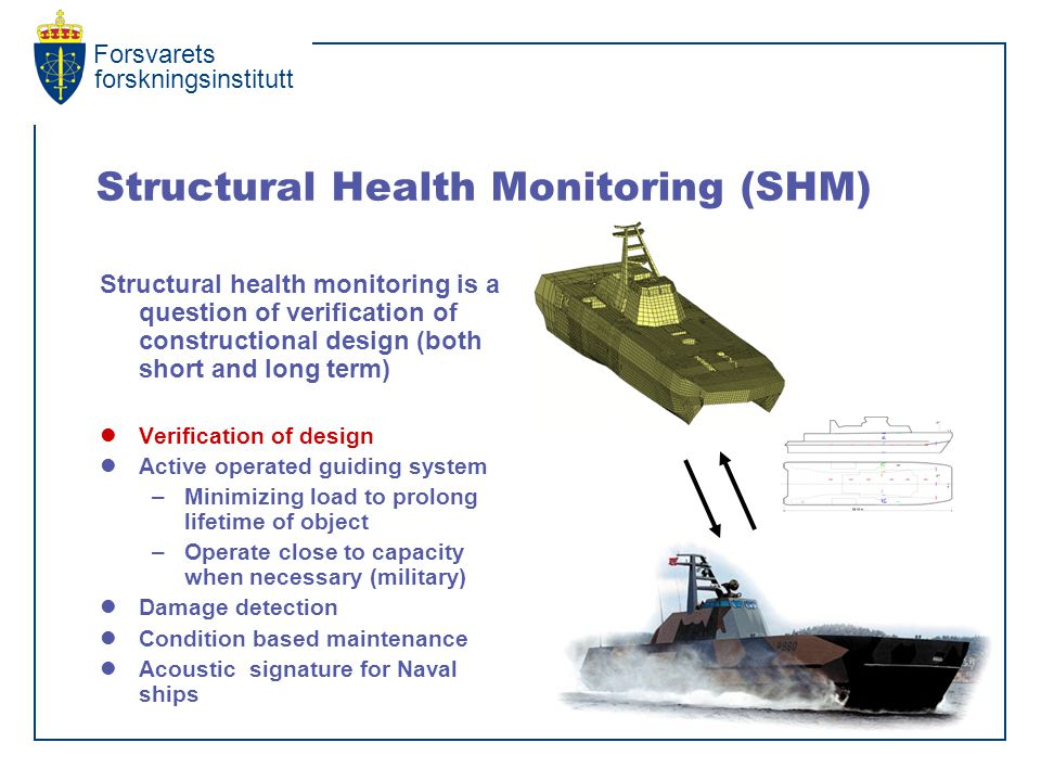 Forsvarets forskningsinstitutt Structural Health Monitoring (SHM) Structural health monitoring is a question of verification of constructional design