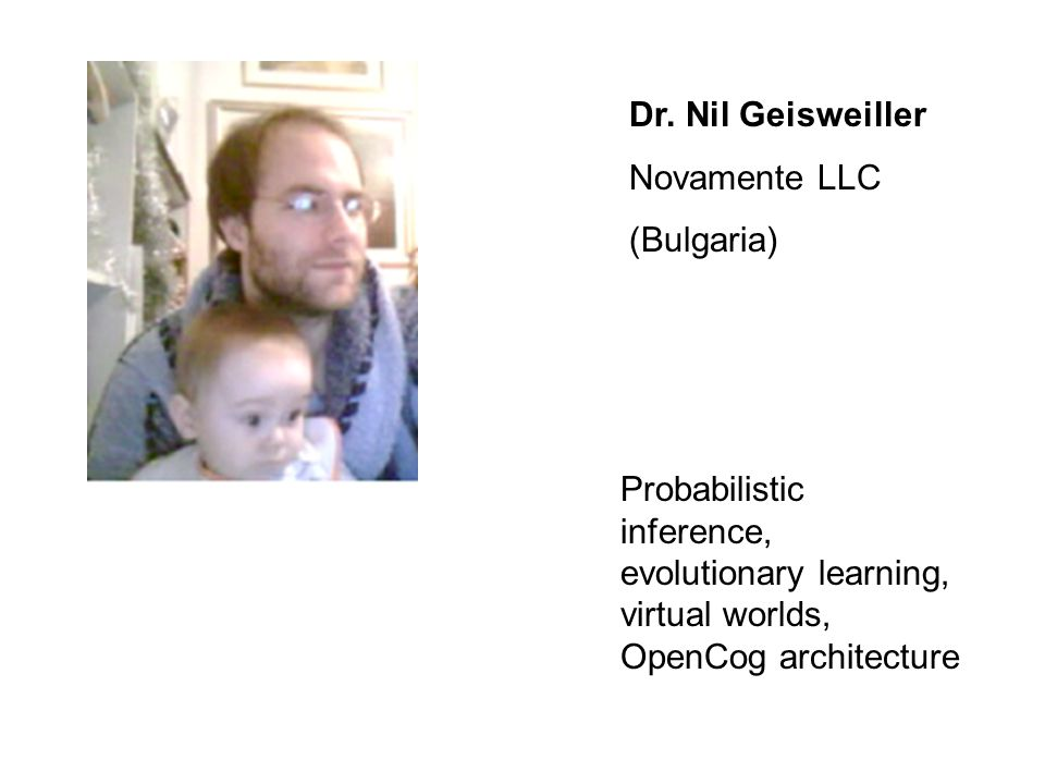 Dr. Nil Geisweiller Novamente LLC (Bulgaria) Probabilistic inference, evolutionary learning, virtual worlds, OpenCog architecture
