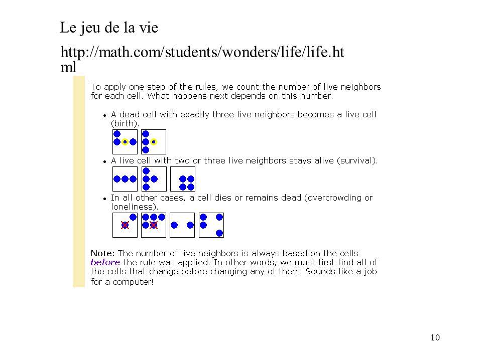 10 http://math.com/students/wonders/life/life.ht ml Le jeu de la vie
