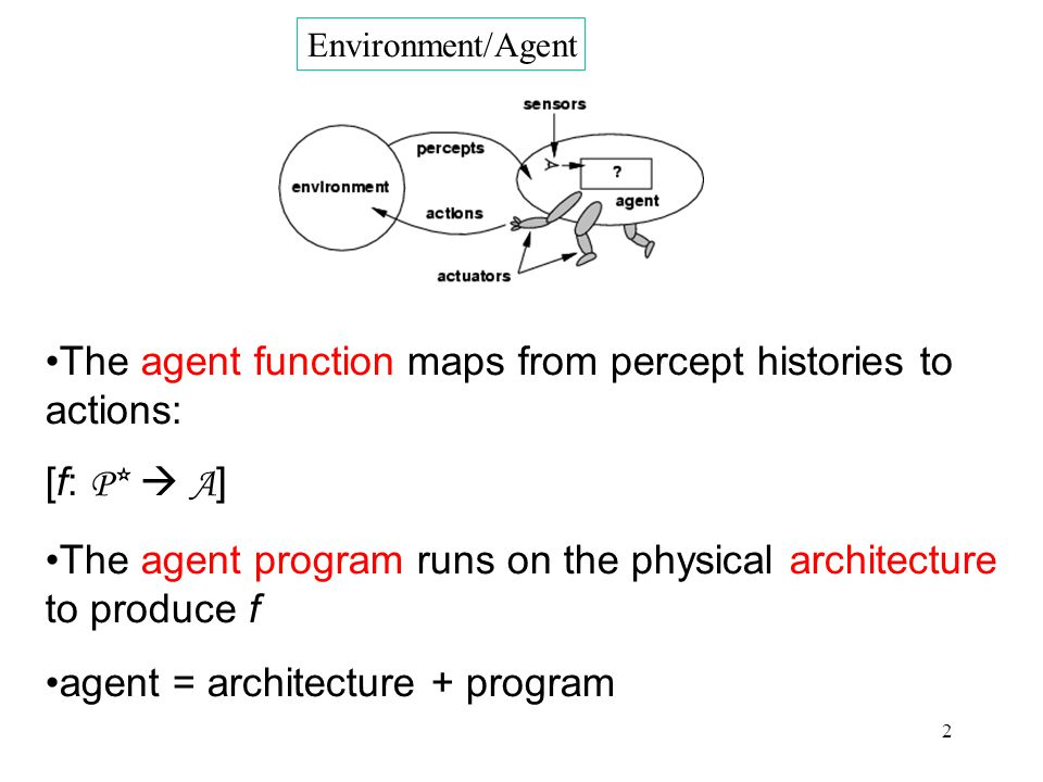 2 Environment/Agent The agent function maps from percept histories to actions: [f: P*  A ] The agent program runs on the physical architecture to produce f agent = architecture + program