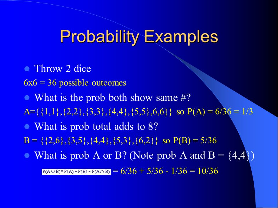 Probability Examples Throw 2 dice 6x6 = 36 possible outcomes What is the prob both show same #.
