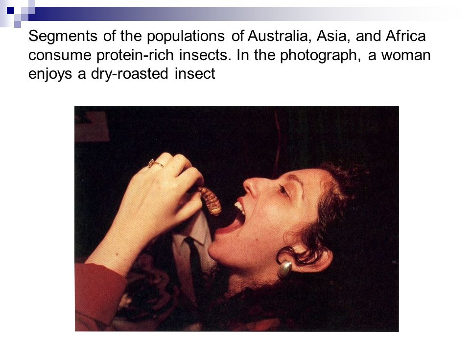 Segments of the populations of Australia, Asia, and Africa consume protein-rich insects. In the photograph, a woman enjoys a dry-roasted insect
