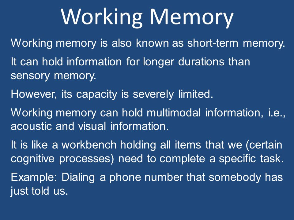 Working Memory Working memory is also known as short-term memory. It can hold information for longer durations than sensory memory. However, its capac