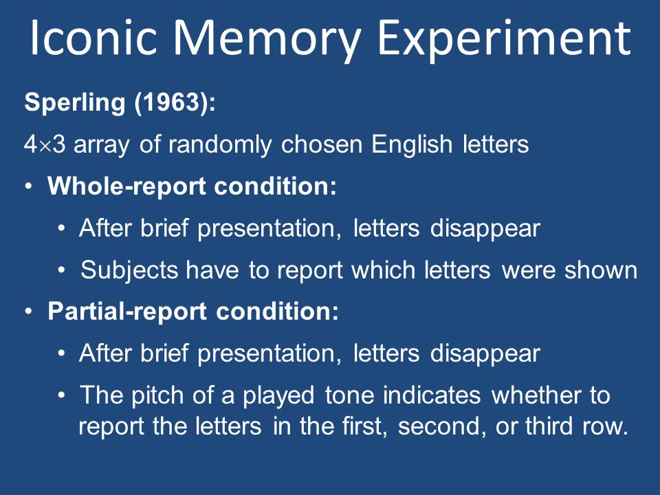 Iconic Memory Experiment Sperling (1963): 4  3 array of randomly chosen English letters Whole-report condition: After brief presentation, letters dis