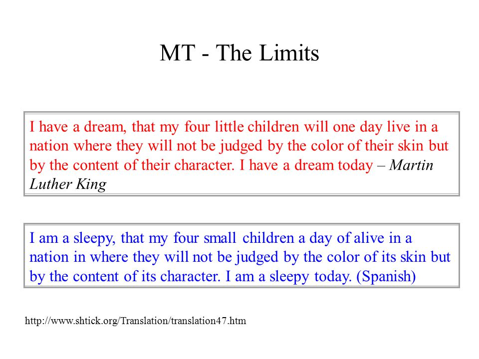 MT - The Limits I have a dream, that my four little children will one day live in a nation where they will not be judged by the color of their skin but by the content of their character.