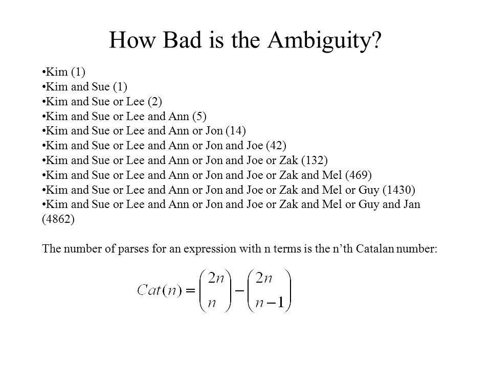 How Bad is the Ambiguity? Kim (1) Kim and Sue (1) Kim and Sue or Lee (2) Kim and Sue or Lee and Ann (5) Kim and Sue or Lee and Ann or Jon (14) Kim and