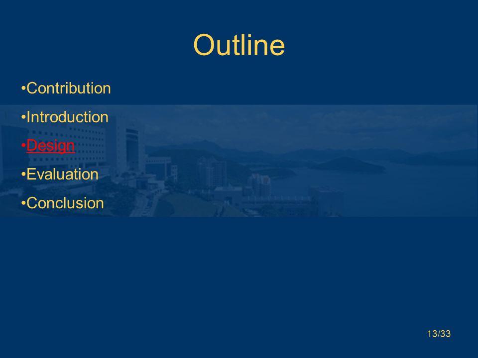 13/33 Outline Contribution Introduction Design Evaluation Conclusion
