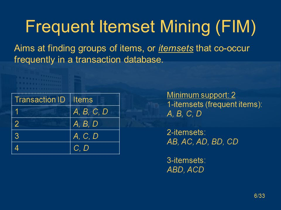6/33 Frequent Itemset Mining (FIM) Aims at finding groups of items, or itemsets that co-occur frequently in a transaction database.