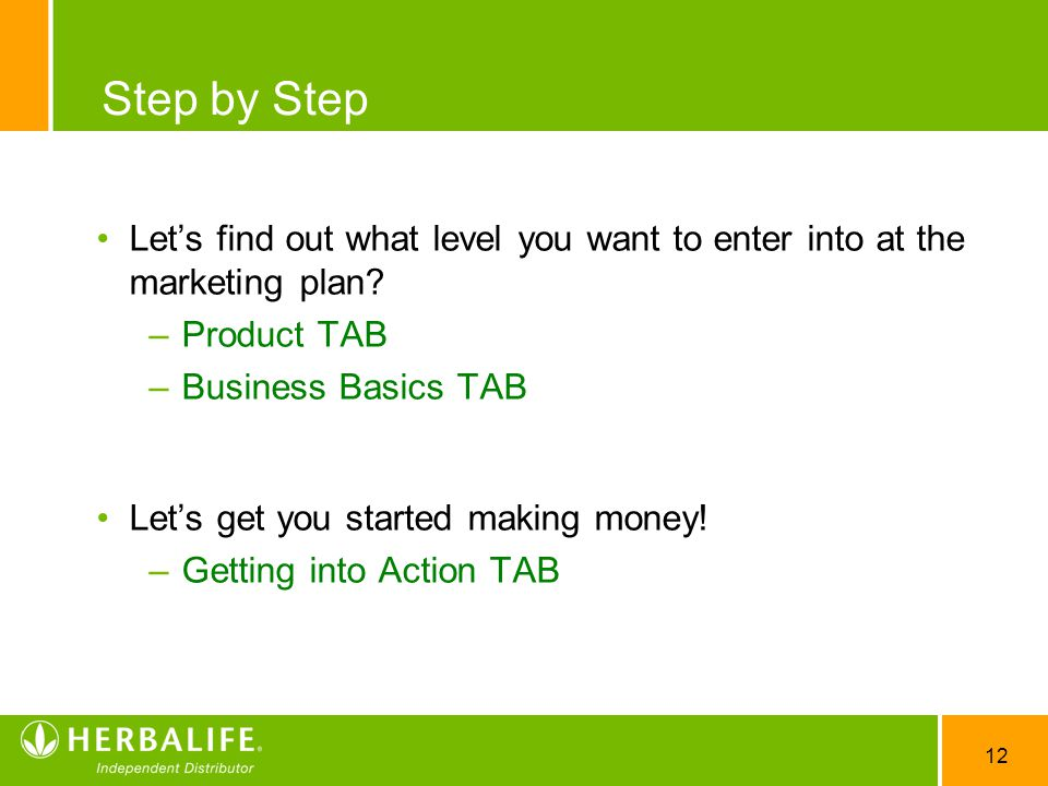 12 Step by Step Let's find out what level you want to enter into at the marketing plan.
