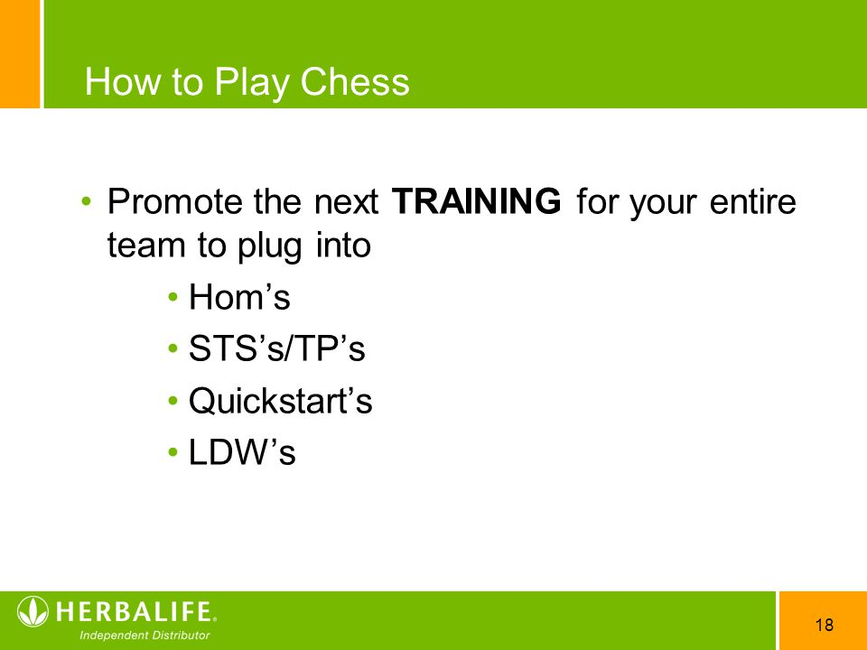 18 How to Play Chess Promote the next TRAINING for your entire team to plug into Hom's STS's/TP's Quickstart's LDW's