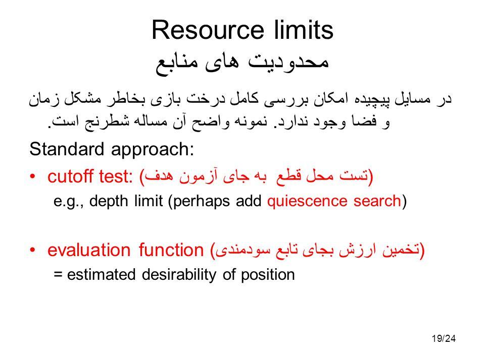 1924/ Resource limits محدودیت های منابع در مسایل پیچیده امکان بررسی کامل درخت بازی بخاطر مشکل زمان و فضا وجود ندارد. نمونه واضح آن مساله شطرنج است. St